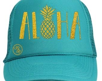 Aloha (Hat) ~ 7016 Pineapple, Pineapple Hat, Trucker Hat, Hat, Sparkly, Aloha,Hawaii