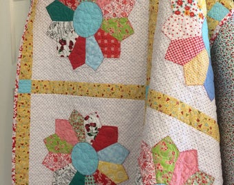 "Yellow Dresden Quilt//63""square quilt//lap quilt//throw quilt//porch quilt//Vintage Farm Girl inspired quilt//bright colors//"