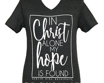 Girlie Girl Originals In Christ Alone Dark Heather Gray V-Neck Short Sleeve