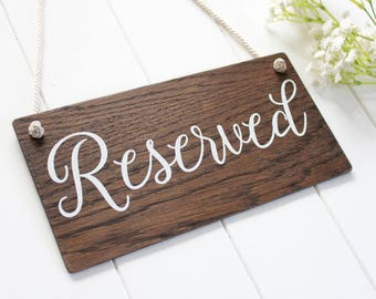 Wedding Reserved Sign, Rustic Wooden Wedding Signs, Chair Sign, Wedding Decor. Boho Wedding.