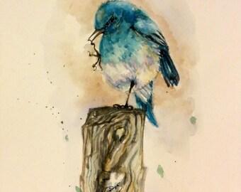 "Original Watercolor Painting, Blue Bird, With Mat 10""x8"", 1612122"