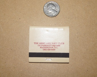 Vintage 1970's - International Hotel and Restaurant Matchbook  The Army and navy Club Washington DC Matchbook
