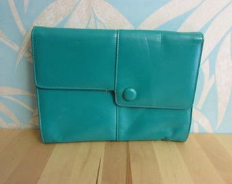 """1980s Shilton """"Japelle"""" faux leather turquoise green oversized clutch bag"""