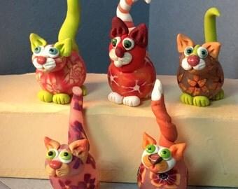 Flower Power Felines, Orange Series cat miniatures