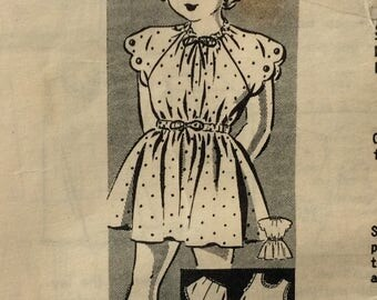 Mail order 8177 girls drawstring dress, slip and panties size 4 vintage 1940's sewing pattern