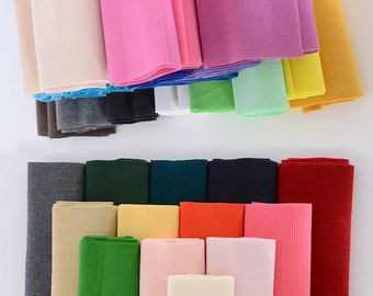 """2X2 Cotton Ribbing and Binding Knit for Cuffs, Neckbands, Hem for Pajamas or Jumpsuits. 32 solid colors available, 40""""--47"""" Width X7.8""""/20cm"""