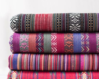 Colorful Stripe Fabric Native Tribal Fabric Ethnic Fabric BOHO Bohemian Style Hand Woven Upholstery fabric- 1/2 yard