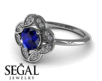 Victorian Engagement Ring Blue Sapphire Engagement Ring White Gold Vintage Antique Blue Sapphire Victorian Engagement Ring - Lucy