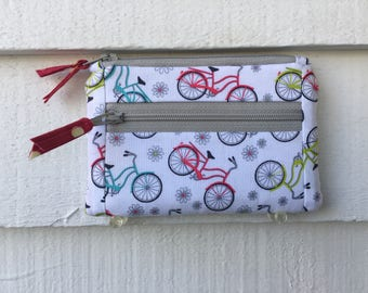 Bicycle Zipper Wallet, Womens Fabric Wallet, Bicycle Zipper Pouch, small bike wallet; bicycle bag; bicycle coin purse; bike change purse