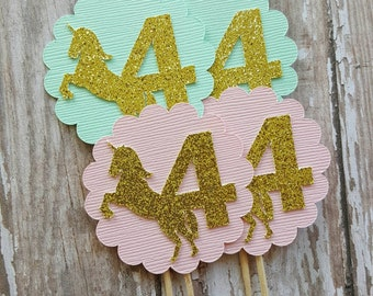 Unicorn Cupcake Toppers... Magical Party Theme... Mint and Pink... Baby Girl
