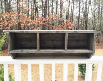 Handmade Rustic Wooden Cubby Storage Organization   Choose Your Stain Color