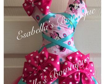 Minnie tutu bow holder;pink minnie bow holder;tutu bow holders;tutu bow holder;aqua blue bow holder;bow holder