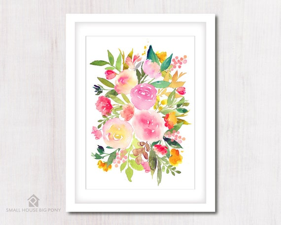 Watercolour Digital Wall Art , Home Wall Decor, Rose Watercolor Painting- Hand Painted- Sweet Spring Wall Art Printables