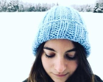 MOONLIGHT BEANIE | 4 Color Choices | Cozy Knit Blue Wool Beanie