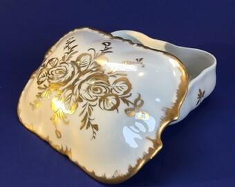 Limoge Porcelaine De Paris Gold Trinket Box Vanity Jewellery Antique Vintage