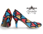 Trekkie Retro Insignia Covered Heels- Choose Your  Shoe Style- Wedding Shoes- Geek-Bride- Prom-Graduation- Gift- Custom Shoes- Holiday