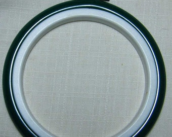 """8cm (3.25"""") Round green Flexihoops, use as embroidery hoop or mounting counted cross stitch designs.  Christmas Decorations.  Green Frames."""