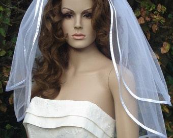 2 tier Elbow length veil with satin ribbon edge