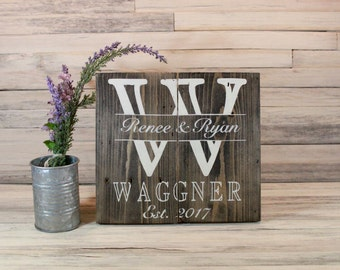 Family Name Initial Wooden Sign, Rustic Name Sign, Custom Family Name Sign, Personalized Sign, Last Name Sign, Wedding Gift, Gifts Under 50