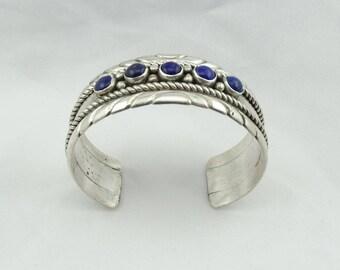 Signed Ella Cowboy Navajo Artisan Vintage Sterling Silver and Lapis Cuff Bracelet #ELLA-CF3