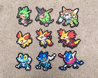 Gen 6 Kalos Starters | Chespin | Quilladin | Chesnaught | Fennekin | Braixen | Delphox | Froakie | Frogadier | Greninja | Pokemon Perler