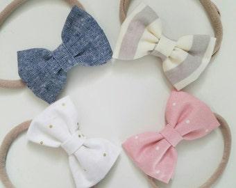 Newborn nylon headbands, newborn hair bows, fabric bows,  newborn package headbands, neutral colors