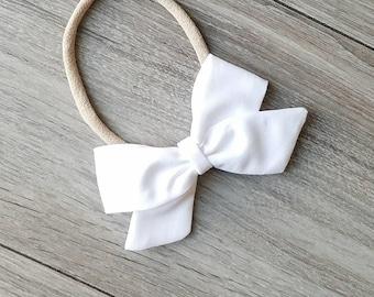 white sailor bow, white fabric bow, white bow, nylon headband, alligator clip,