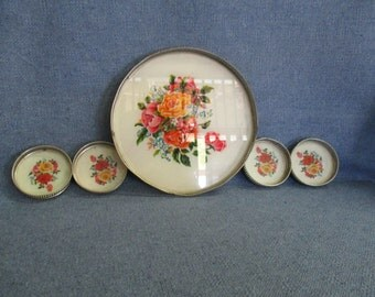Roses Motif Metal Vintage Serving Tray and 4 Coasters