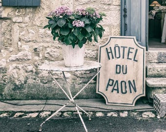 rustic decor bedroom, female bedroom art, bedroom decor French wall art, France photography, shabby chic wall art, French hotel sign picture
