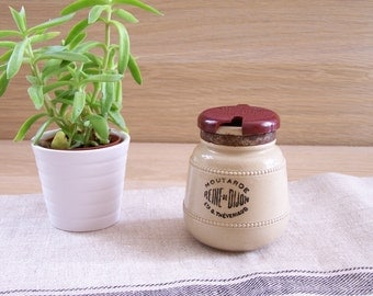 Reine de Dijon mustard mustard jar sandstone lid red bakelite Théveniaud mustard pot with lid vintage Made in France