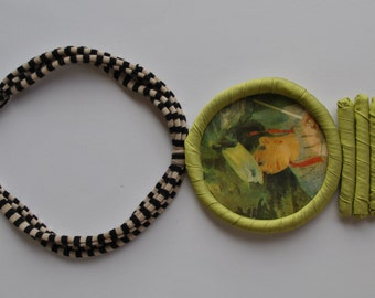 Striped fabric statement necklace with medailllon with Renoir painting (Lise with umbrella)