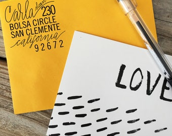 Custom, Hand Lettered, Return Address, Rubber Stamp, Modern Calligraphy Wood Stamp, SWOOP STYLE Stamp