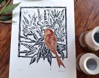 Long-tailed tit & buddleja - linocut print, black/red/gold, hand pulled, limited edition, British birds and gardens
