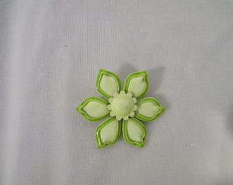 Vintage Lime Green Enamel Flower Pin