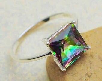 Rainbow Topaz Gemstone in 100% Solid 925 Sterling Silver SZ 9 Ring
