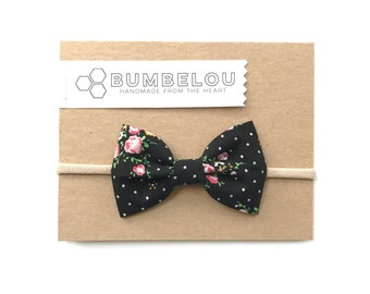 Classic Fabric Bow - Black Floral Dot - Headband or Clip
