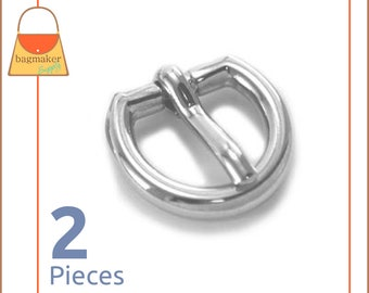 Small Round D Buckle Works with 3/8 Inch to 1/2 Inch Straps, Shiny Nickel Finish, 2 Pieces, 7/16 Inch, Handbag Purse Hardware, BKS-AA067