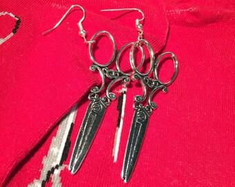 Victorian scissor dangle earrings