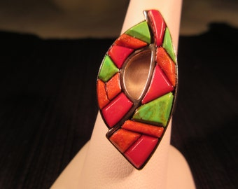 Abstract Sterling Silver Multi Stone Ring - 9