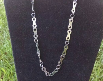 Recycled bike chain necklace