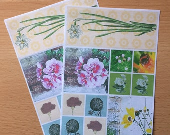 Watercolour and Vintage Floral Sticker Sheets