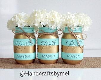 Mason Jar Centerpieces, Teal and Gold Wedding Decor, Baby Shower Centerpiece, Striped Mason Jars, Table Centerpieces, Shabby Chic, Farmhouse