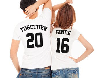 Together Since shirts, Couple shirts, Jerseys shirts, Anniversary shirts, Together since tees, Anniversary gift, Relationship shirts