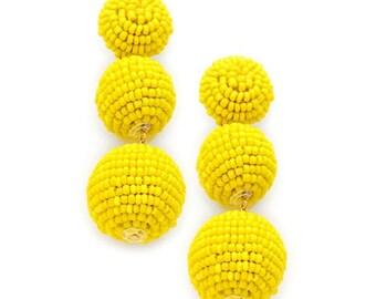 Bright Yellow Triple Beaded Drop Statement Earrings -UK SELLER