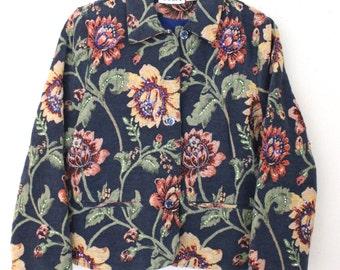 Vintage Flower Tapestry Jacket / Woman Brocade Embroidery  Jacquard Jacket / Woven Tapestry Jacket/ Boho Jacket / Large