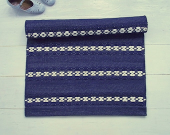 Navy and White Rug, White Blue Rug, Nordic Rug, Kitchen Rug, Handmade, Washable, Woven on the Loom, Made to Order