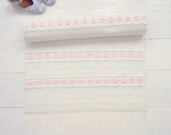 White Pink Nursery Rug, Girls Room Runner Rug, Cotton Rag Rug, Handmade, Washable, Woven on the Loom, Ready to Ship