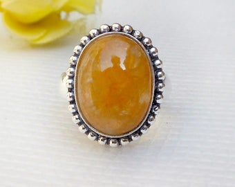 Peach Moonstone Ring Oval Cabochon Moonstone Ring Birthstone Jewelry Silver Rings Gift Jewelry Orange Stone Handmade ring size 9