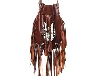 ON SALE Brown leather fringe purse, medium size, boho leather bag, fringe handbag, leather shoulder bag