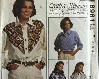 McCalls 6961 - Creative Woman's Yoked Shirt with Button Front Closure and Pointed Collar - Size 14 16 18